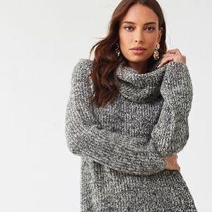 Speckled Cowlneck Long Knit Sweater